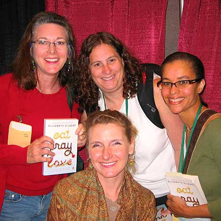 "and Elizabeth Gilbert, author of ""eat, pray, love"", shown from left to right"