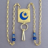 Traditional Islamic Star and Crescent Design on a Beaded ID Lanyard