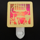 Gold and Red Stain Glass Kwanzaa Night Light Reflects the 7 Symbols