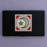 Islamic Business Card Holders in black feature a star and crescent design similar to that used by the Nation of Islam