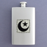 Star and Crescent Moon Flask works as a water canteen and is an attractive alternative to a plastic water bottle.