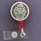 Retractable Badge Holder with Cupcake Design - Fun way to show some personality at work